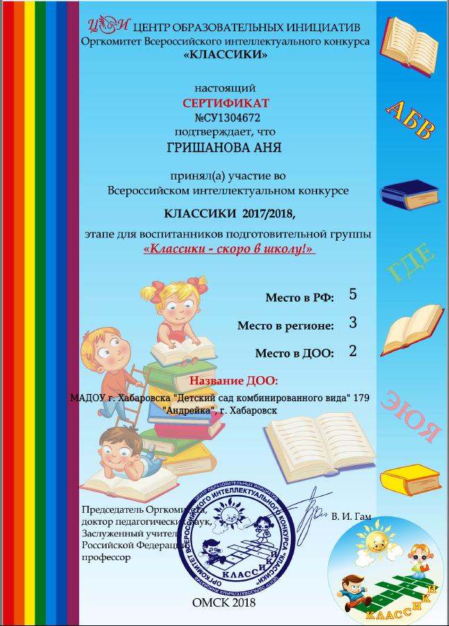 Сертификат Гришанова