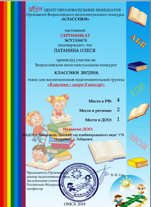 Сертификат Патанина