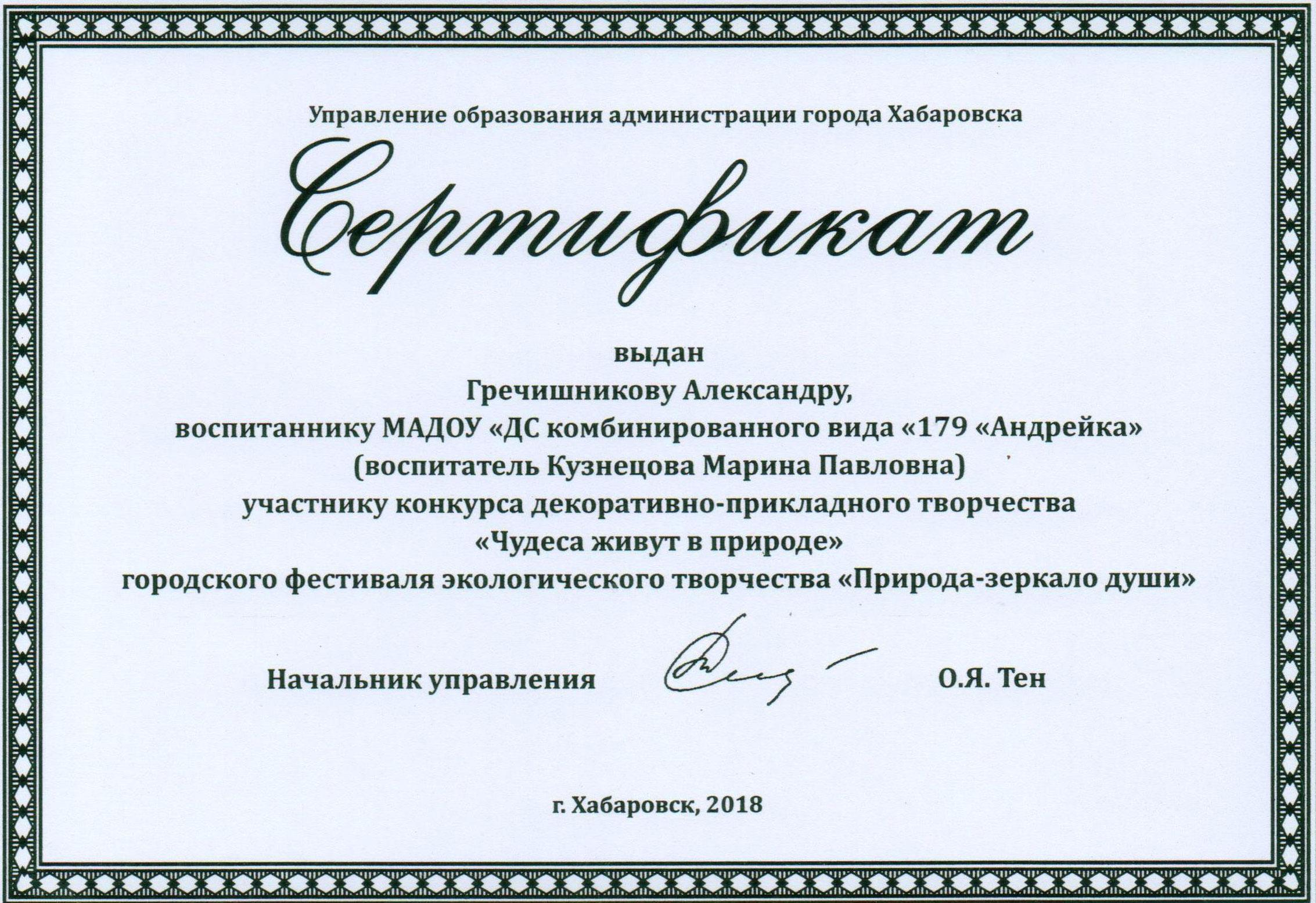 Сертификат Гречишников